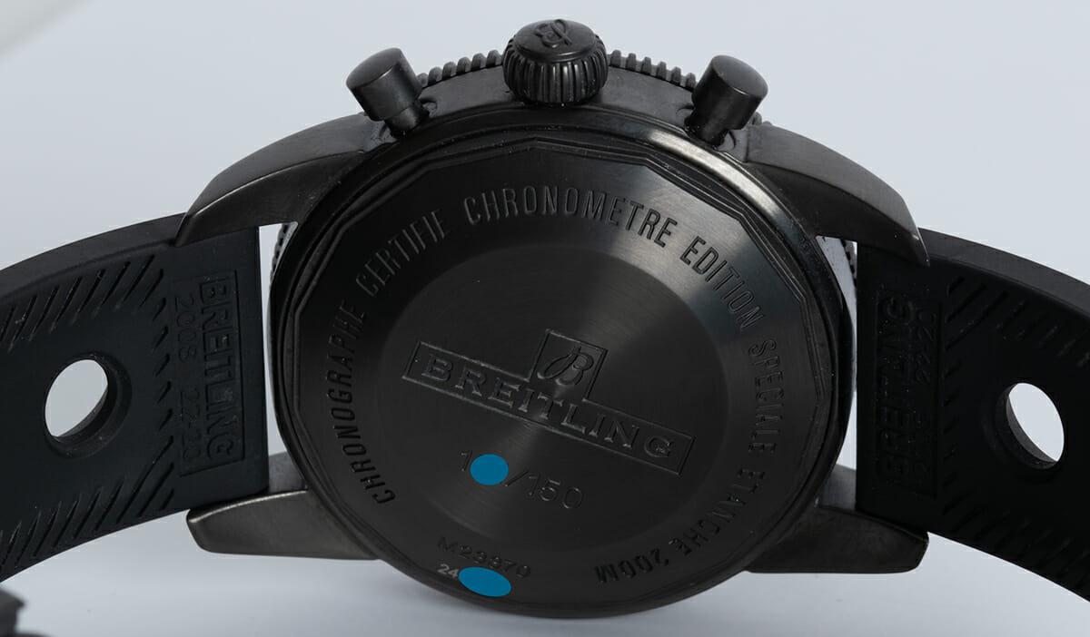 Caseback of SuperOcean Heritage Chronograph 44 BlackSteel