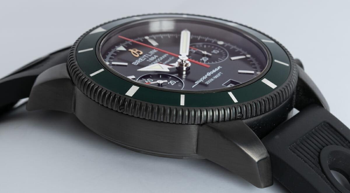 9' Side Shot of SuperOcean Heritage Chronograph 44 BlackSteel