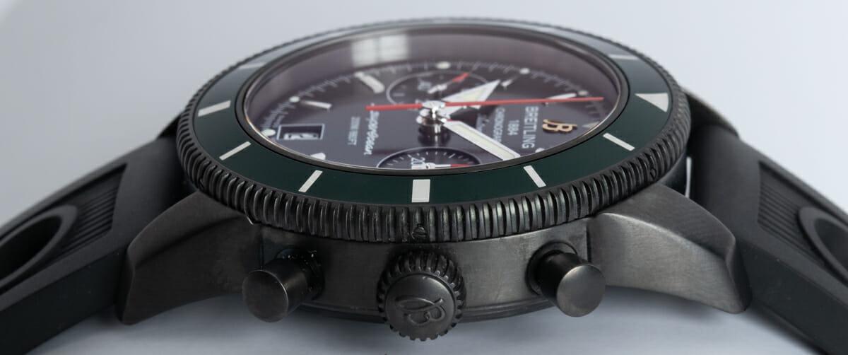 Crown Side Shot of SuperOcean Heritage Chronograph 44 BlackSteel