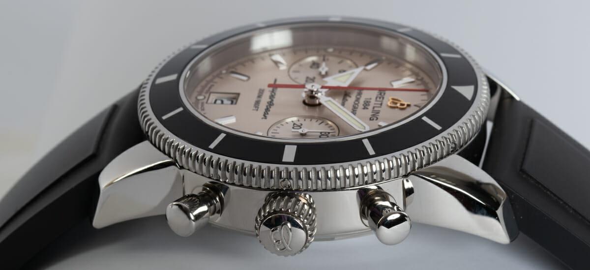 Crown Side Shot of SuperOcean Heritage Chronograph 44