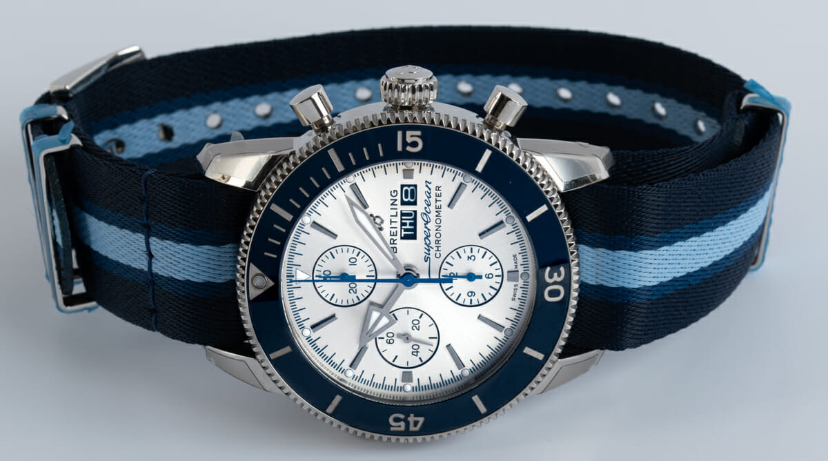Front View of SuperOcean Heritage Chronograph 44 Ocean Conservancy Limited Edition