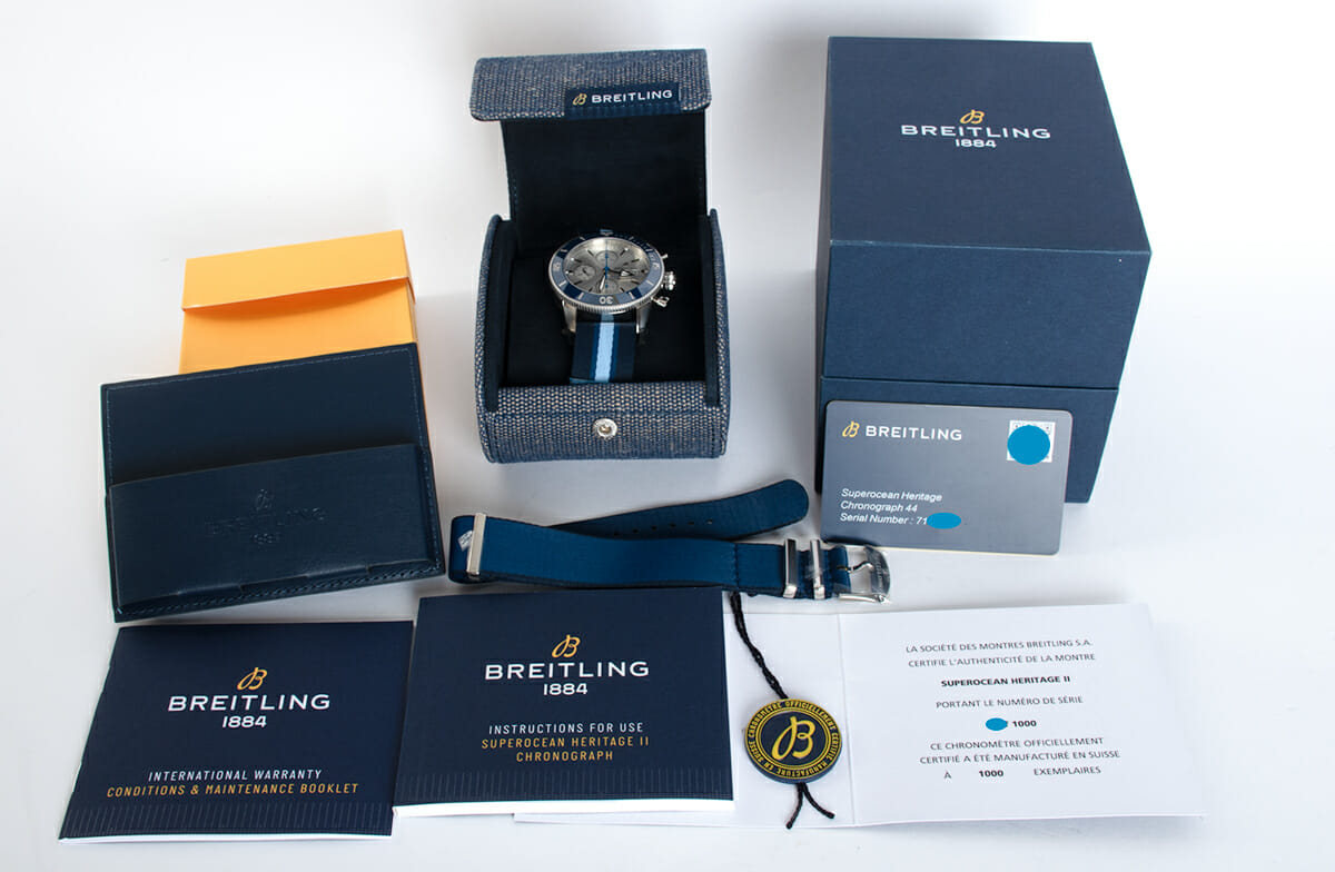 Box / Paper shot of SuperOcean Heritage Chronograph 44 Ocean Conservancy Limited Edition