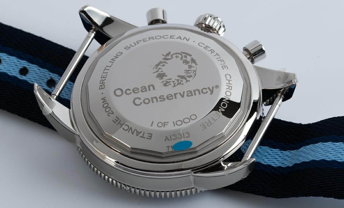 Caseback of SuperOcean Heritage Chronograph 44 Ocean Conservancy Limited Edition