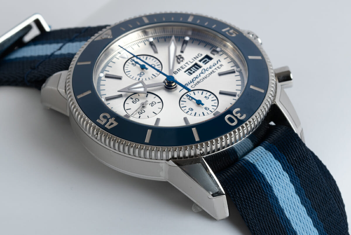 9' Side Shot of SuperOcean Heritage Chronograph 44 Ocean Conservancy Limited Edition