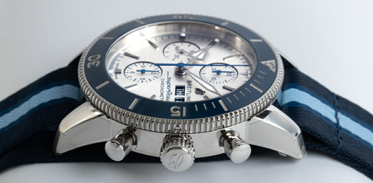 Crown Side Shot of SuperOcean Heritage Chronograph 44 Ocean Conservancy Limited Edition
