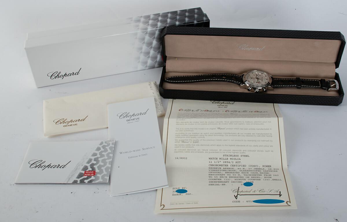 Box / Paper shot of Mille Miglia Chronograph