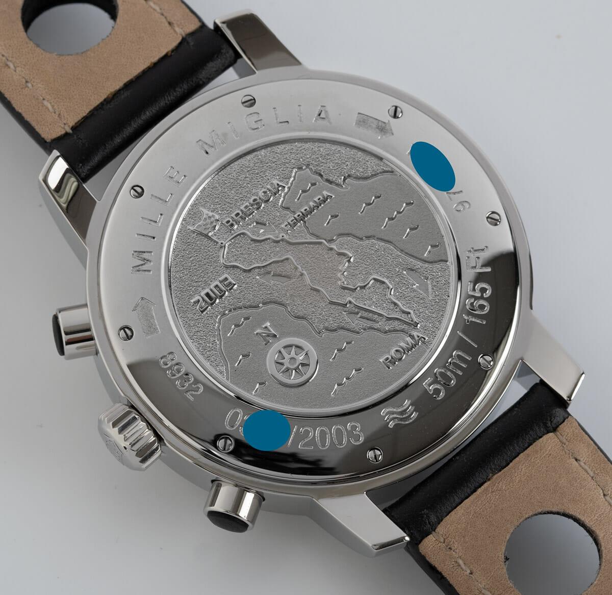 Caseback of Mille Miglia Chronograph
