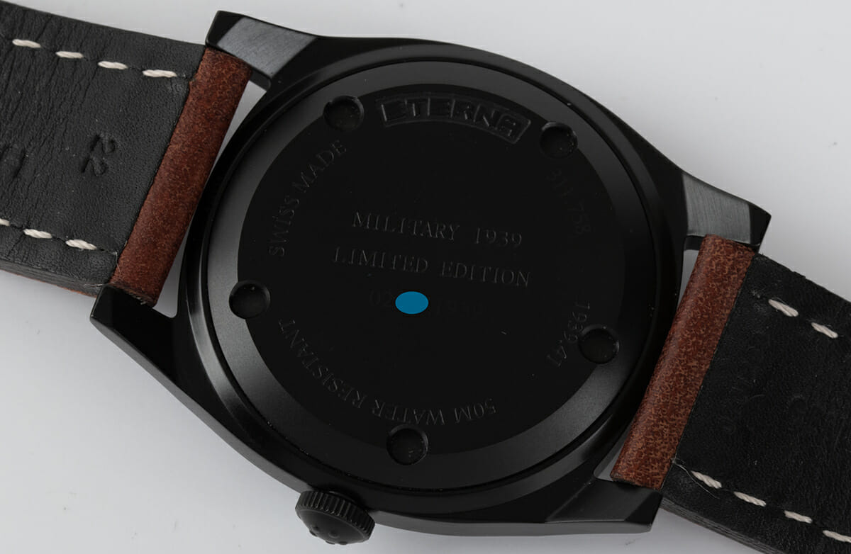Caseback of Heritage Military 1939 Limited Edition PVD