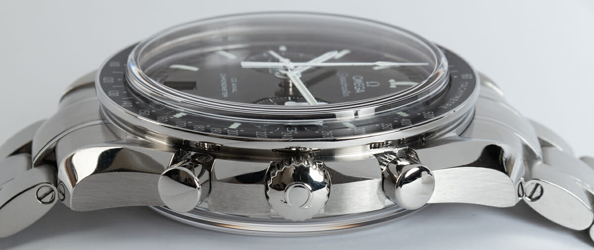 Crown Side Shot of Speedmaster Moonwatch Co-Axial Chronograph