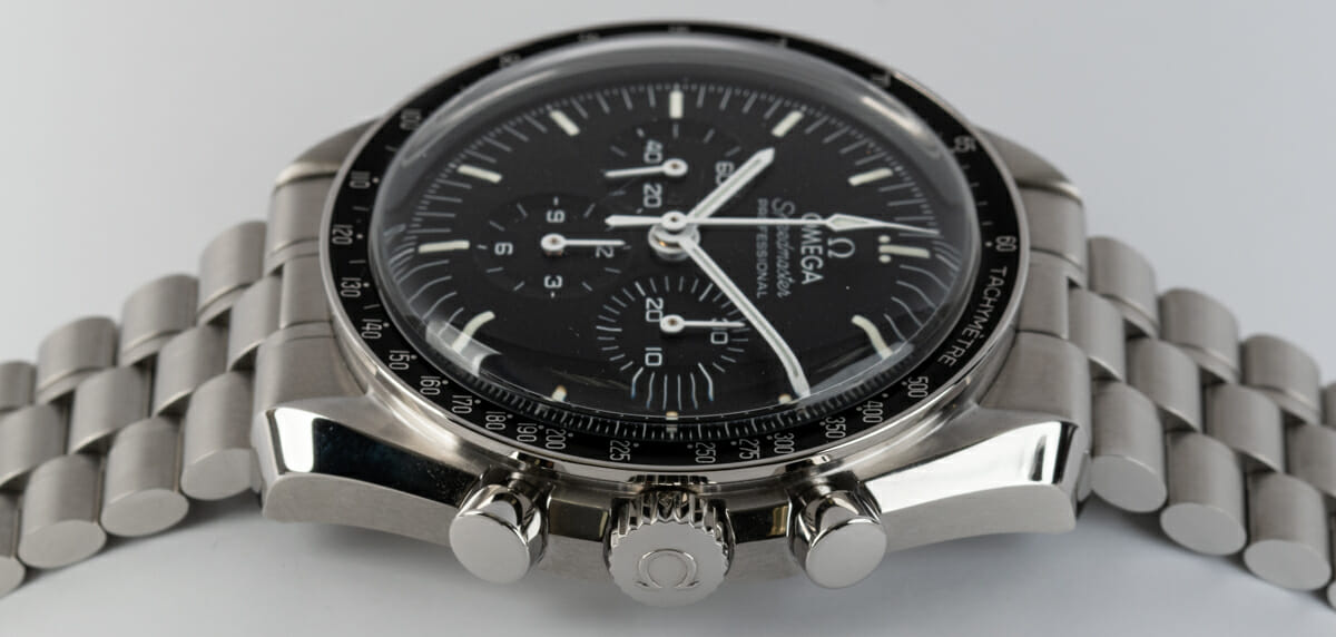 Crown Side Shot of Speedmaster Moonwatch Professional Co-Axial Master Chronometer