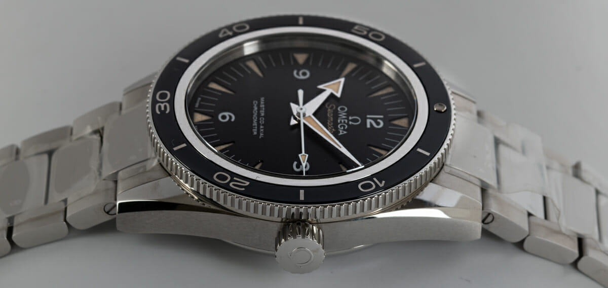 Crown Side Shot of Seamaster 300 Master Co-Axial