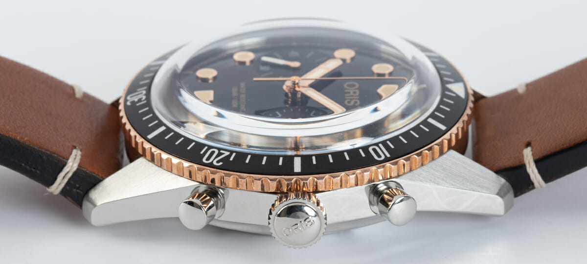 Crown Side Shot of Divers Sixty-Five Chronograph