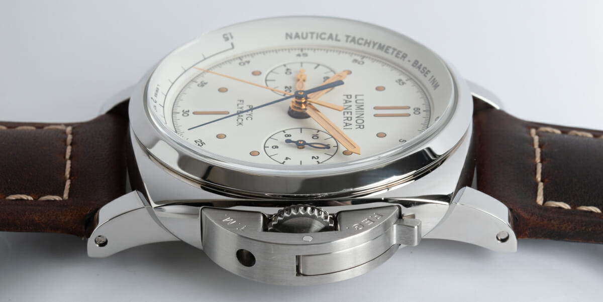 Crown Side Shot of Luminor 1950 PCYC Flyback Chronograph