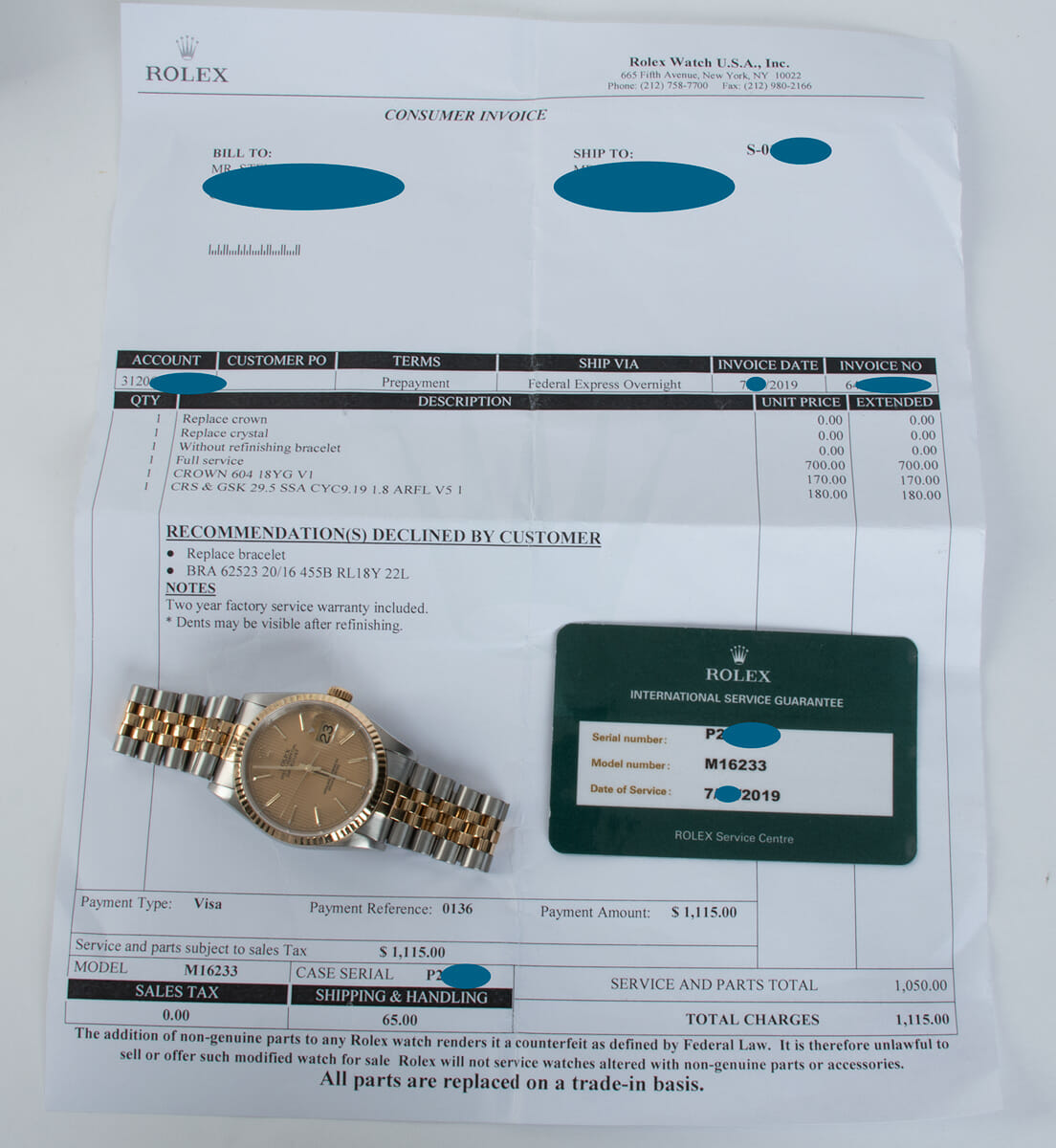 Extra Included Items of Datejust 36