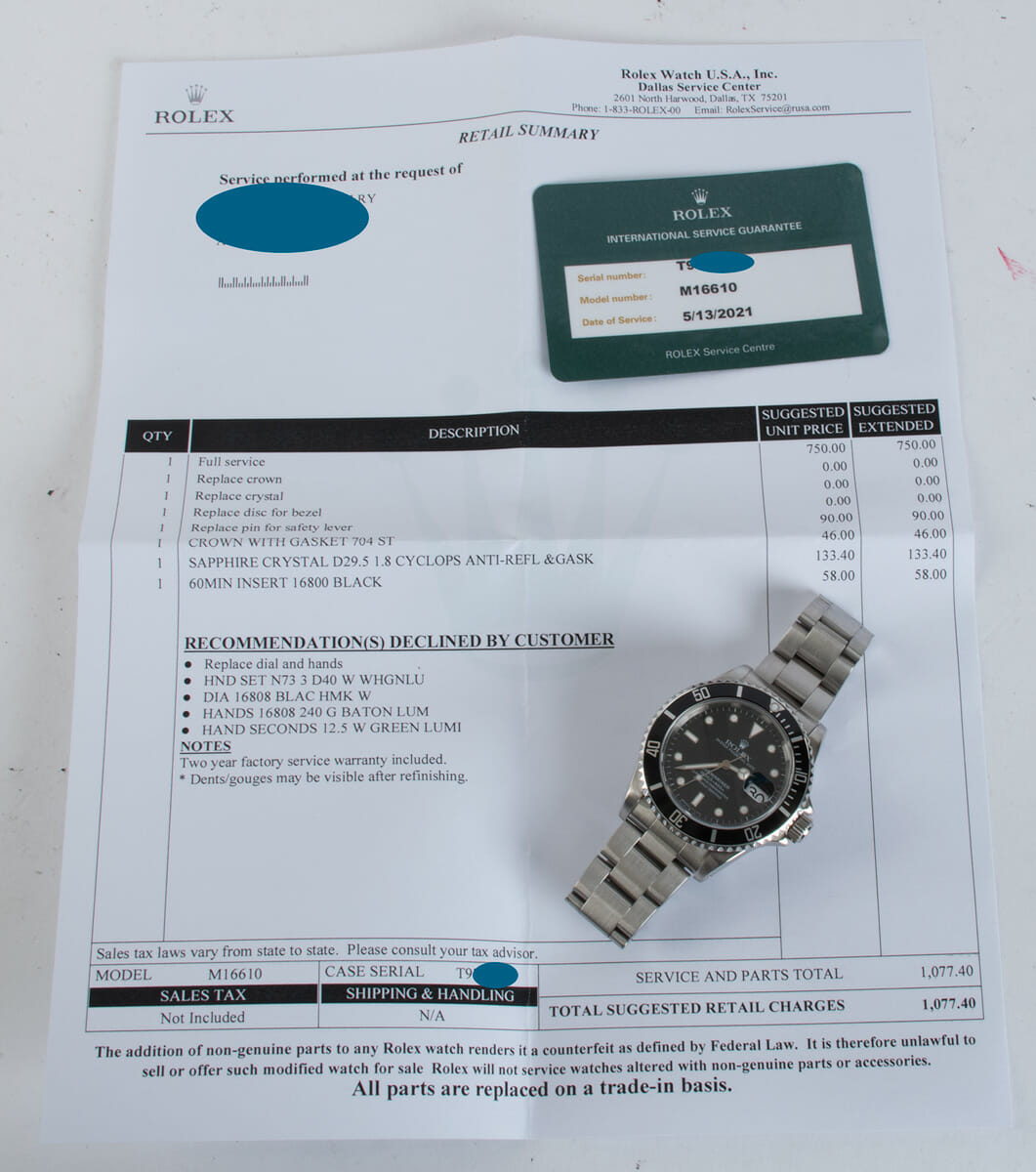 Extra Included Items of Submariner Date