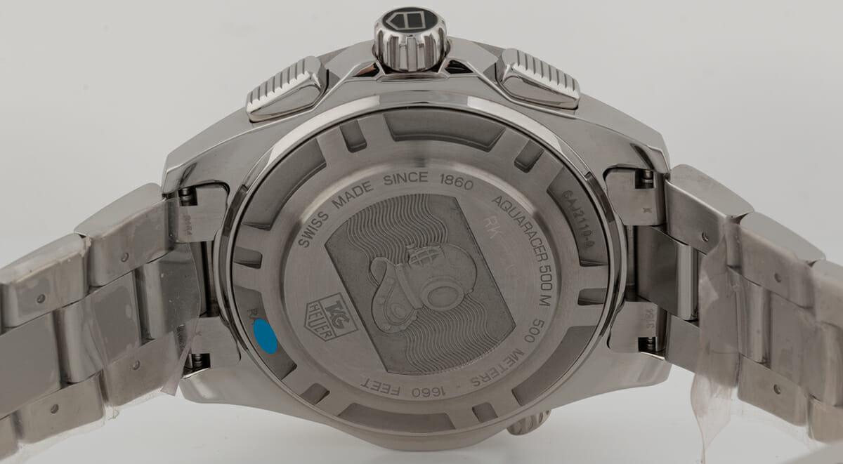 Caseback of Aquaracer 500m Chronograph