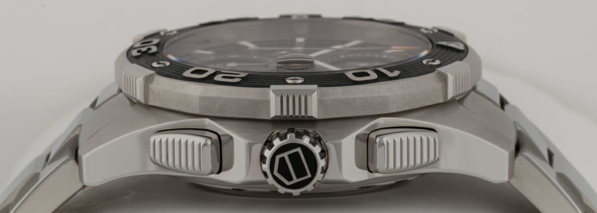 Crown Side Shot of Aquaracer 500m Chronograph