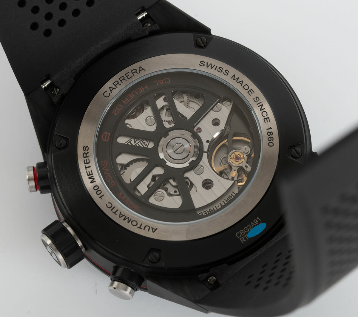 Caseback of Carrera Chronograph