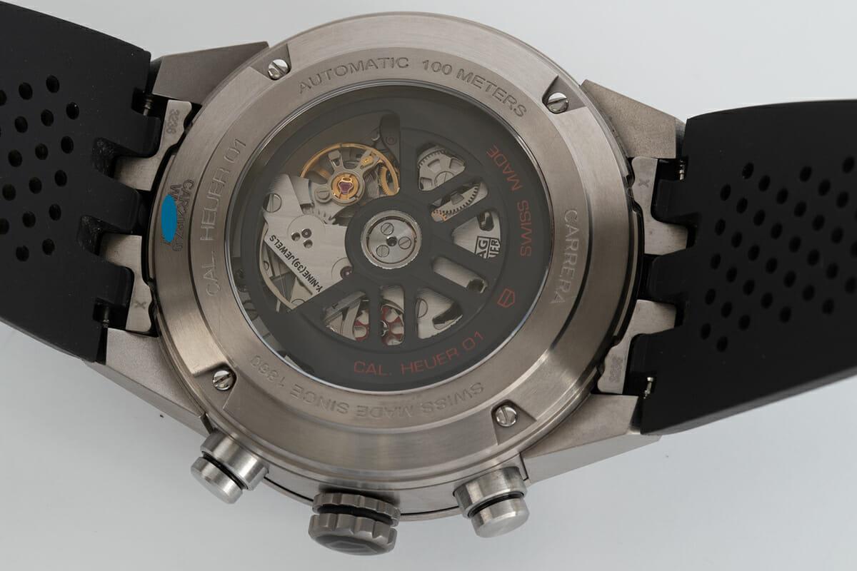 Caseback of Carrera Calibre Heuer 01