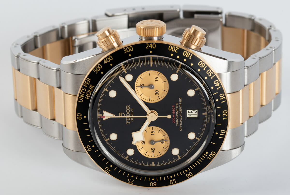 Front View of Heritage Black Bay Chronograph S&G