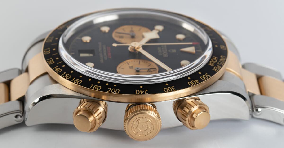 Crown Side Shot of Heritage Black Bay Chronograph S&G