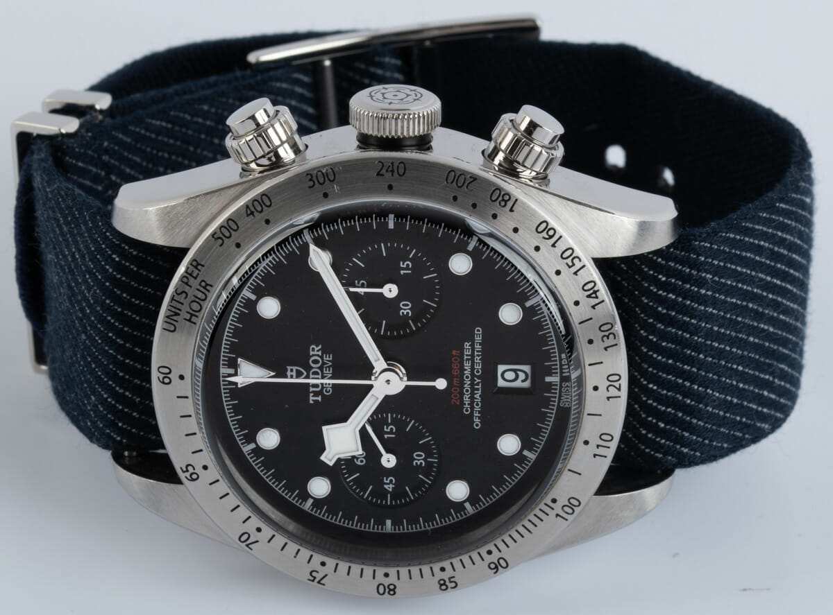 Front View of Heritage Black Bay Chronograph